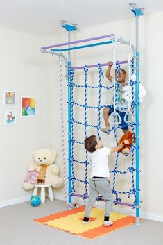 Wallbarz Little Jungle - Indoor Playground Kids Climbing Gym | WallbarzUSA Playground Kids, Modern Playground, Indoor Jungle Gym, Indoor Gym, Indoor Play Areas, Climbing Rope, Kids Climbing, Sports Training, Toddler Gym