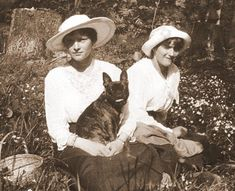 1917, enjoying the nature. Tanya is holding Ortino in her arms, the bulldog her admirer Dmitri Malama gave to her some time before.