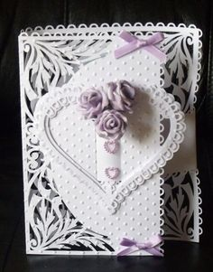 Heart Buckle fold card --- *Mostly White-on-White #WhiteOnWhite White on White -- with a bit of lavender purple