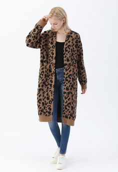 Leopard Pockets Longline Cardigan in Brown - OUTERS - Retro, Indie and Unique Fashion Lulu Fashion, Kids Fashion, Leopard Print Cardigan, Longline Cardigan, Winter Cardigan, Leopard Pattern, Front Design, Long A Line, Unique Fashion