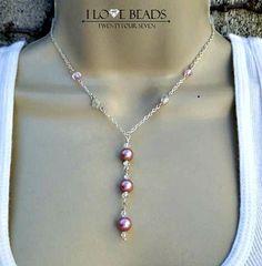 Wedding jewelry-Pink  Swarovski pearl necklace-pearl necklace-swarovski pearl necklace- bridesmaids necklace