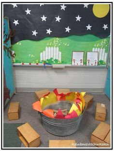 """""""Camping"""" Campout at Preschool. Camping Learning Center at Preschool with Fire Pit for Summer Fun. Create an INdoor campout, complete with a creative campfire, reading suggestions and craft ideas. Camping theme for the classroom at RainbowsWithinReach Dramatic Play Area, Dramatic Play Centers, Camping Dramatic Play, Preschool Dramatic Play, Dramatic Play Themes, Play Centre, Preschool Activities, Preschool Classroom Themes, Summer Themes For Preschool"""