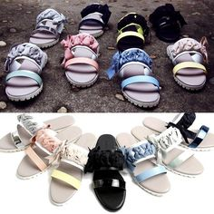 NEW  Summer Women Ribbon Sandals&Handmade leather shoes&beatiful lace 8color #BomNavi #SlipperShoes