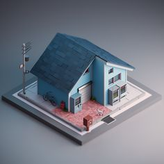 A house in japan. Low Poly on Behance Isometric Art, Isometric Design, Design 3d, Game Design, Logo Design, Graphic Design, Blender 3d, Cartoon House, Low Poly Games