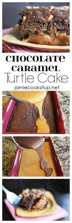 Chocolate Caramel Turtle Cake from Jamie Cooks It Up! This cake is loaded with chocolate and caramel flavor!