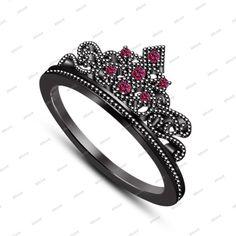 Black Gold FN 925 Silver Round Pink Sapphire Disney Princess Crown Wedding Ring #Affoin8 #CrownWeddingRing