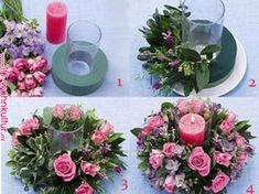 Discover thousands of images about jaqueline van der gootAdorable candle centerpiece with rosesHow to make your own floral displaysWill be fun creating.You can get most of this at the dollar tree Flower Boxes, Diy Flowers, Flower Decorations, Paper Flowers, Wedding Flowers, Christmas Decorations, Wedding Boquette, Hanging Flowers, Wedding Tables