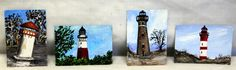 "Lighthouse painting, 3.5"" x 2.5""  ACEO, ATC, artist trading card, original acrylicc art, seascape painting, mini and small art, seascape art by SouthernPassions on Etsy"
