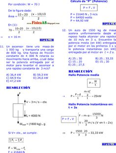 FISICA PROBLEMAS RESUELTOS: TRABAJO - POTENCIA Y ENERGÍA MECÁNICA EJERCICIOS DESARROLLADOS IMPRIMIR GRATIS Physique, Theoretical Physics, Math Formulas, Theory Of Relativity, String Theory, Techno, Kinetic Energy, Teaching High Schools, Activities