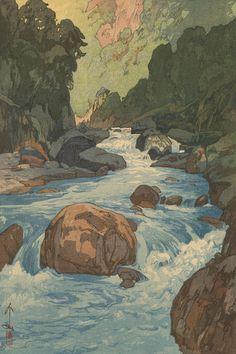 [フリー絵画素材] 吉田博 - 日本アルプス十二題 黒部川 (1926) ID:201403101500