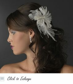 Beautiful Feather Fascinator Bridal Hair Comb