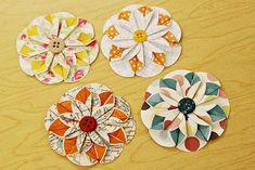 folded paper flower tutorial.