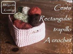 Canastas o cestas cuadradas en waffle crochet XL con trapillo o T-shirt yarn (Parte 2) - YouTube