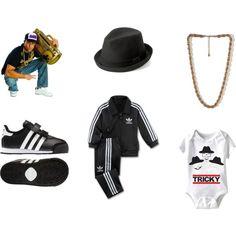 Infant Run DMC Costume by marychu, via Polyvore #halloween #baby #costume