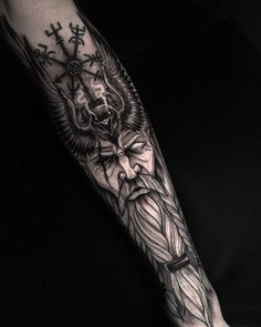 Viking Tattoo Sleeve, Egyptian Tattoo Sleeve, Viking Tattoo Symbol, Wolf Tattoo Sleeve, Full Sleeve Tattoo Design, Norse Tattoo, Tribal Sleeve Tattoos, Celtic Tattoos, Thai Tattoo
