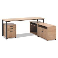 "basyx 72"" Manage Series L-Workstation with Pedestal & Storage, Select Color - Sam's Club"