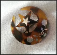 Antique Victorian Pique Silver Inlay Moon and Star Brooch