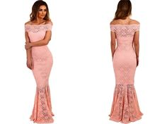 Elegant Off Shoulder High Waist Bardot Lace Fishtail Maxi Dress //Price: $42.86 & FREE Shipping //     #freeshipping
