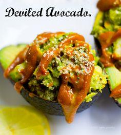 Deviled Avocado. Spicy Curry Sauce. Cado-Crunch Salad. #vegan