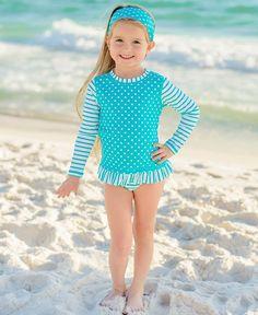 7eb5b02637 RuffleButts Little Girls Aqua Striped Polka LS Rash Guard Bikini   Clothing... (