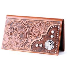 Nocona Tooled Hair-On with Crystals Wallets - N5426408 TAN - PFI Western Store
