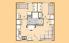 A 20' x 20' 400 sq ft 2 Bedroom with 3/4 Bath that I'm calling the Hoot & Holler.