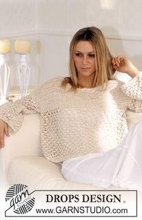 Ravelry: Short Wide Pullover in Ribbon pattern by DROPS design Beginner Knitting Patterns, Diy Crochet And Knitting, Crochet Stitches Patterns, Sweater Knitting Patterns, Cardigan Pattern, Knitting Stitches, Crochet Clothes, Free Knitting, Knit Crochet