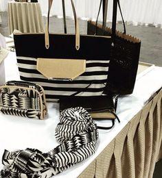 Stella and dot fall 2015. Hudson bag, black and cream geo scarf, black Avalon tote