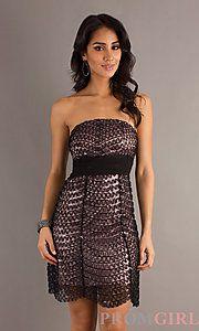 Buy Short Strapless Sequin Embellished Dress at PromGirl