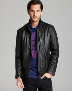 BOSS HUGO BOSS Aicon Standing Collar Leather Jacket | Bloomingdale's