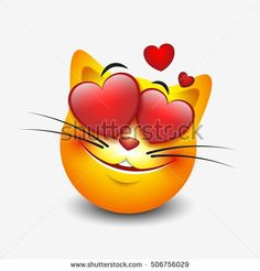 Cute feeling in love cat emoticon isolated on white background - smiley - vector illustration