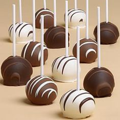 12 Handmade Swizzled Chocolate Cake Pops>Save on any purchase Chocolate Cake Pops, Chocolate Gifts, Chocolate Covered, Chocolate Brown, Cupcakes, Cupcake Cakes, Wine Recipes, Gourmet Recipes, Brownie Pops