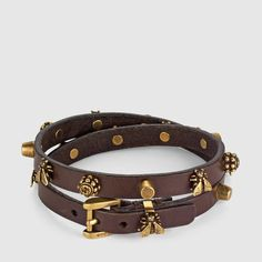 Gucci Leather bracelet with bee motif