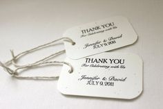 These simple yet elegant gift tags for wedding guest favors that can be personalized with the bride and groom's names and wedding date