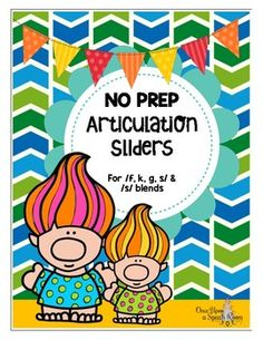Slide your way into a fun time with these cute little trolls. Articulation Sliders are definitely an entertaining and interactive way to practice sounds!! This packet is NO PREP, which makes it fun for you too...Just print, cut and go!This packet contains 19 pages, with 15 individual worksheets targeting f, k, g, s, and s blends:- 3 worksheets for f (initial, medial and final)- 3 worksheets for k (initial, medial and final)- 3 worksheets for g (initial, medial and final)- 3 worksheets for s…
