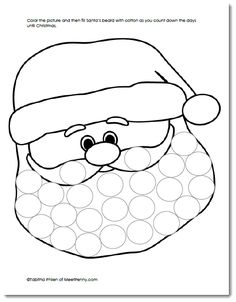 Countdown to Christmas or just have fun filling Santa's beard with cotton balls. A free printable.