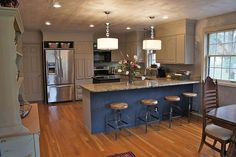 After Kitchen Makeover with glue up ceiling tiles
