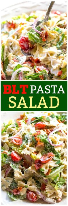This BLT Pasta Salad has bow-tie pasta bacon lettuce and tomato with a creamy ranch dressing. This salad is great for potlucks BBQs and get togethers! Fruit Salad Recipes, Pasta Recipes, Dinner Recipes, Blt Pasta Salads, Bacon Ranch Pasta Salad, Macaroni Salads, Bacon Salad, Side Dish Recipes, Side Dishes