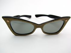 Vintage 1950s Cool Ray Polaroid 155 Cat Eye Sun Glasses Styled by Cari Michelle Gold tone and Black $45