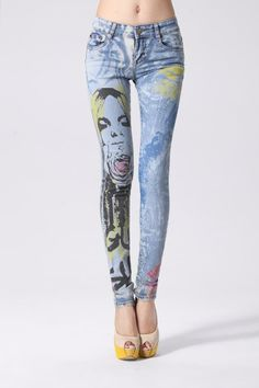 2014 Hot Sale Fashion Painting Women Jeans Pants Brand Designer Jeans $33.40