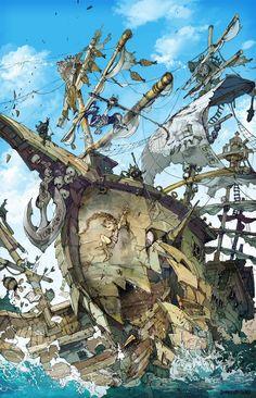 The Art Of Animation, Demizu Posuka Art And Illustration, Fantasy Kunst, Fantasy Art, Anime Kunst, Anime Art, The Pirates, Fantasy Landscape, Fantasy Creatures, Art Reference