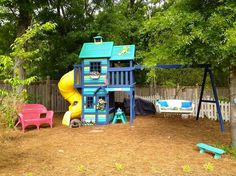 Stockist Budget ReDesign of Wilmington, NC shares how one of their customers, Carolyn Wilkinson used Chalk Paint® decorative paint by Annie Sloan to transform this outdoor play set!