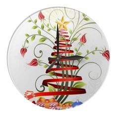 Christmas Ribbon Tree Wall Clock Design by Kalinrava http://www.zazzle.com/christmas_ribbon_tree_round_wallclock-256516391278275455
