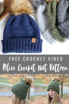 Easy Crochet Hat Patterns, Crochet Beanie Pattern, Crochet Designs, Free Crochet, Knit Crochet, Crochet Hats, Crocheted Headbands, Chunky Crochet, Crochet Stitch