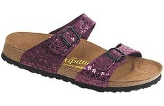 Papillio Sydney Flower Glitter Bordeaux Leather Two thinner, contoured straps make this style very comfortable for those with prominent foot bones. Creative patterns and materials set the Papillio Sydney apart. #birkenstock #birkenstockexpress.com  $69
