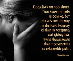 I choose to share my life with dogs...I accept the pain of losing them...and they will forever be in my heart