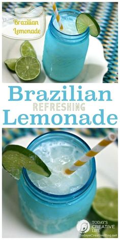 Brazilian Lemonade Recipe made with lower sugar! It's the most refreshing drink you'll ever have! Made with limes, not lemons! Great for a crowd! See the recipe on TodaysCreativeLife.com