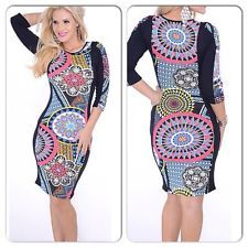 COLORFUL GEOMETRIC SEXY FITTED  PARTY BODYCON STRETCH MIDI PENCIL DRESS Size S