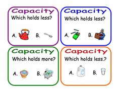 Here's a set of 32 question cards on capacity. Capacity Activities, Capacity Worksheets, Measurement Activities, Kindergarten Math Activities, Math Measurement, Math Resources, Teaching Math, Maths Eyfs, Thoughts