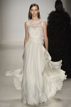 Tadashi Shoji is known for his dramatic evening gowns and delicate cocktail dresses, and for fall, he did not let down his ladies. [Photo by Giovanni Giannoni]